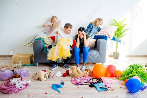 Kids created a mess at home